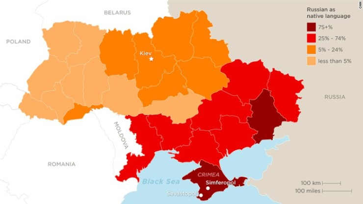 Ukraine map Russian as a native language